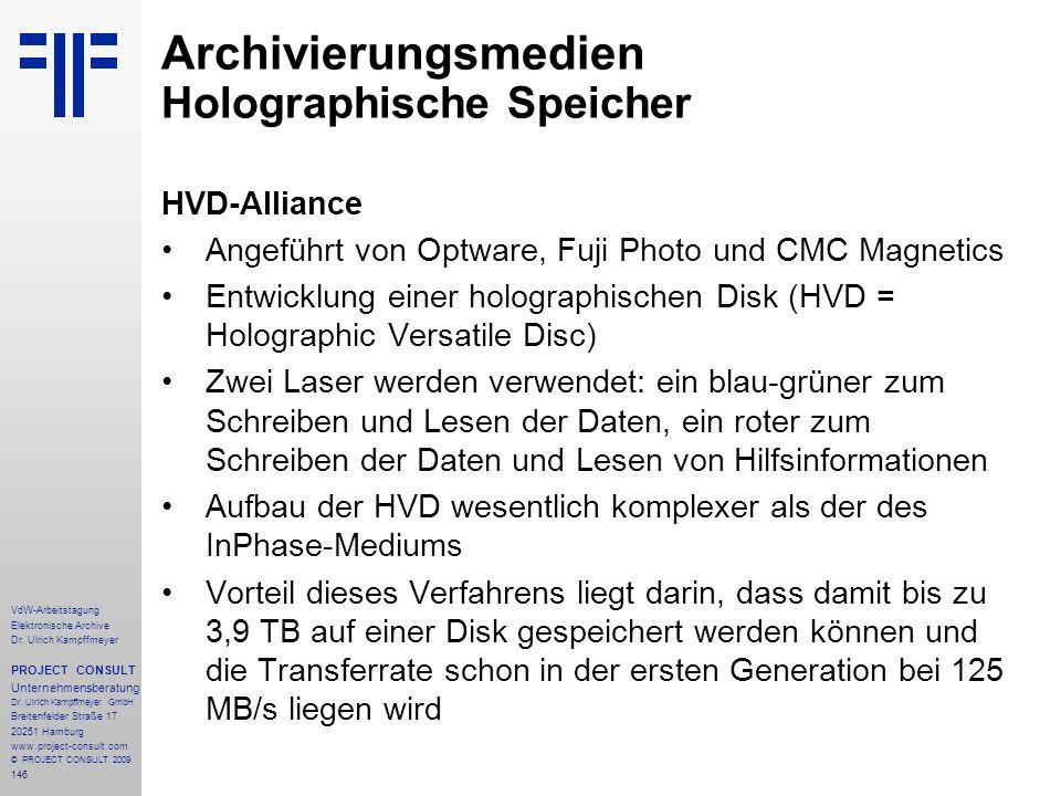 Archivierungsmedien Holographische Speicher