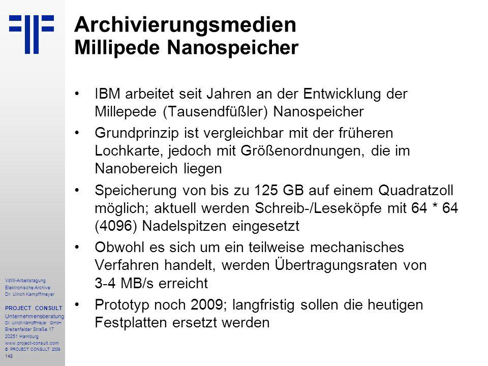 Archivierungsmedien Millipede Nanospeicher