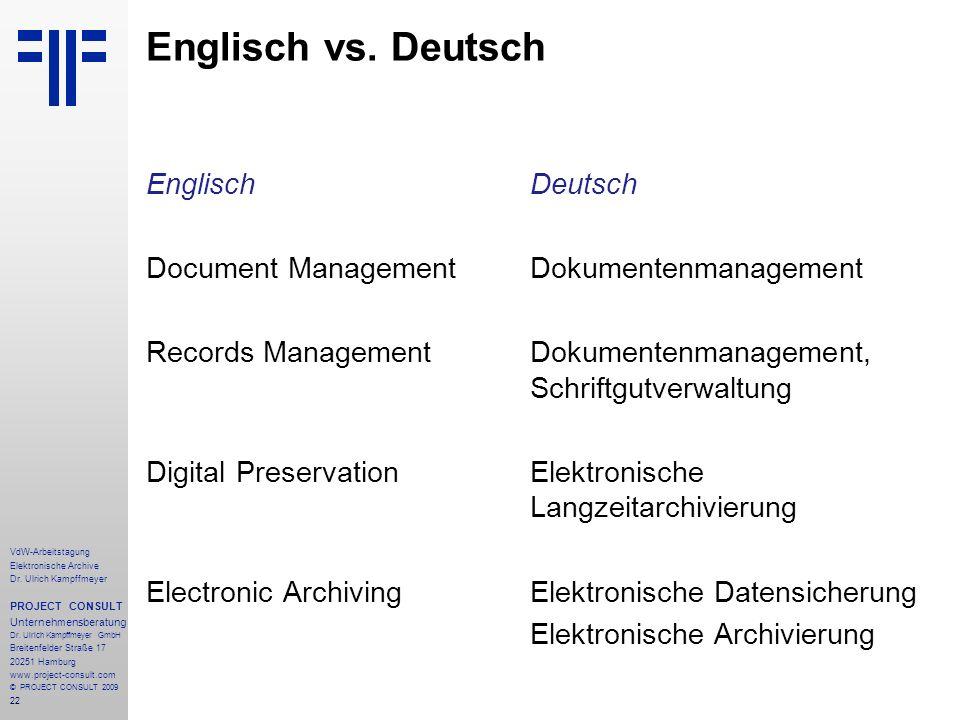 Englisch vs. Deutsch Englisch Deutsch