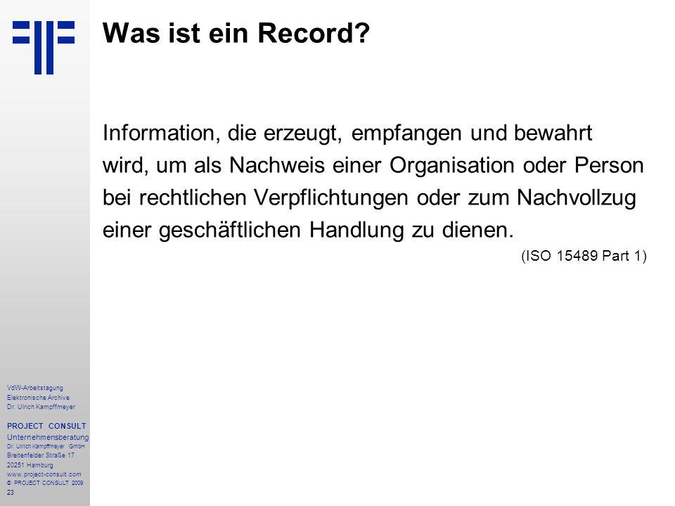Was ist ein Record Information, die erzeugt, empfangen und bewahrt