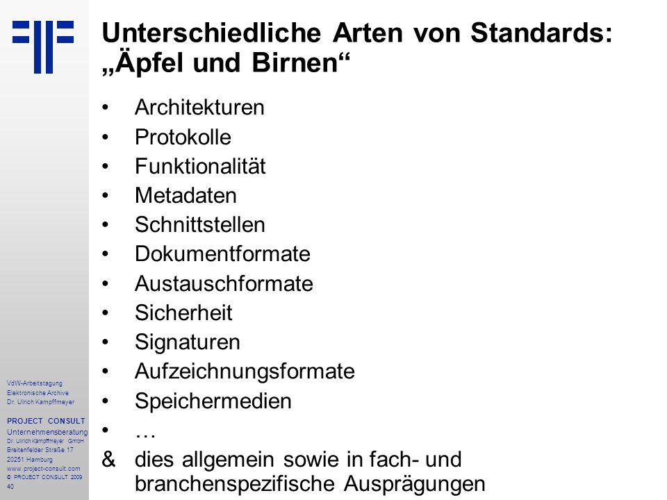 """Unterschiedliche Arten von Standards: """"Äpfel und Birnen"""