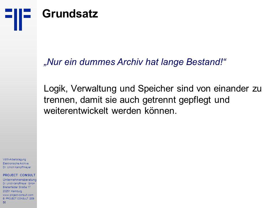 """Grundsatz """"Nur ein dummes Archiv hat lange Bestand!"""