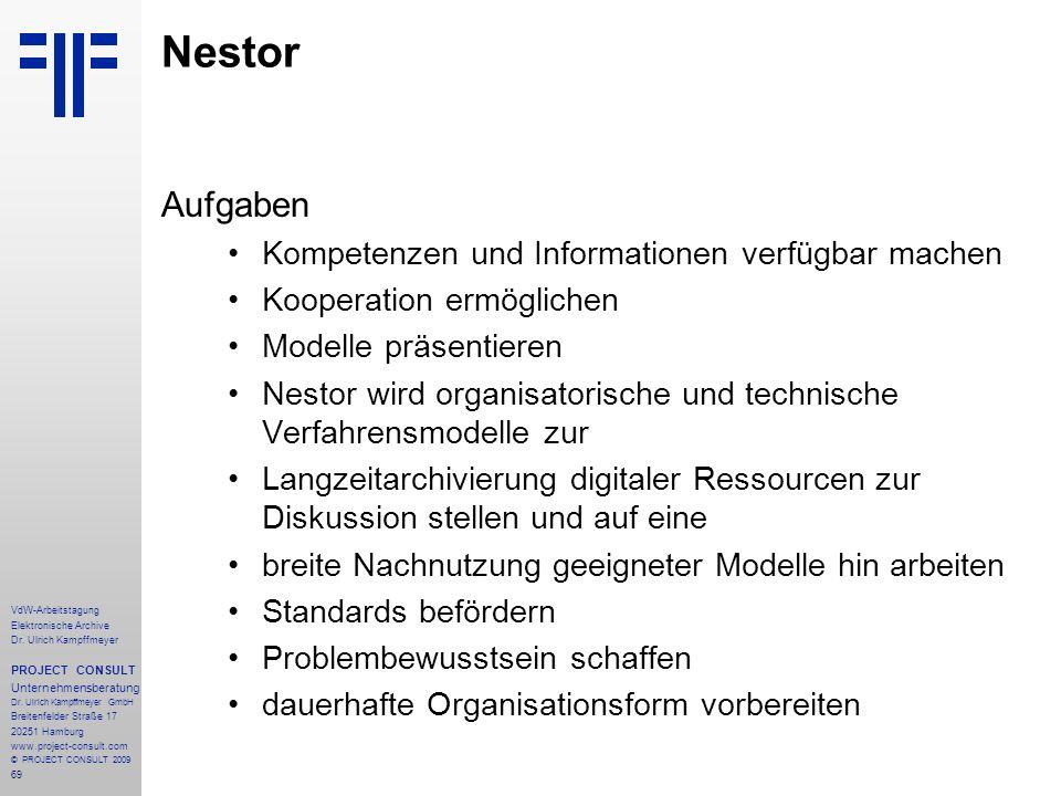 Nestor Aufgaben Kompetenzen und Informationen verfügbar machen