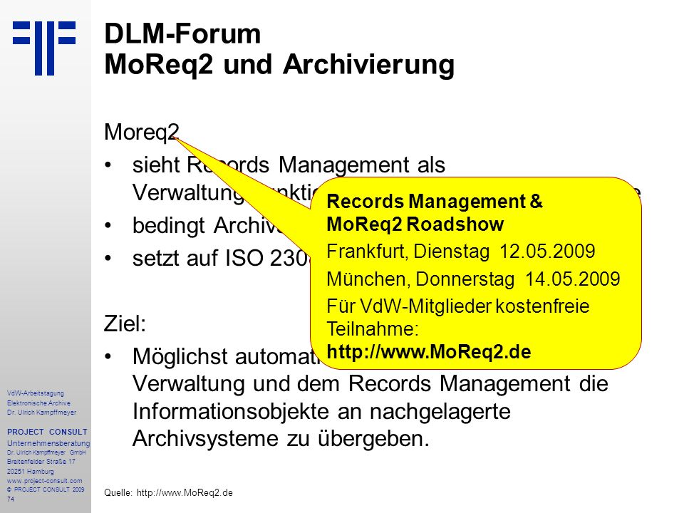 DLM-Forum MoReq2 und Archivierung