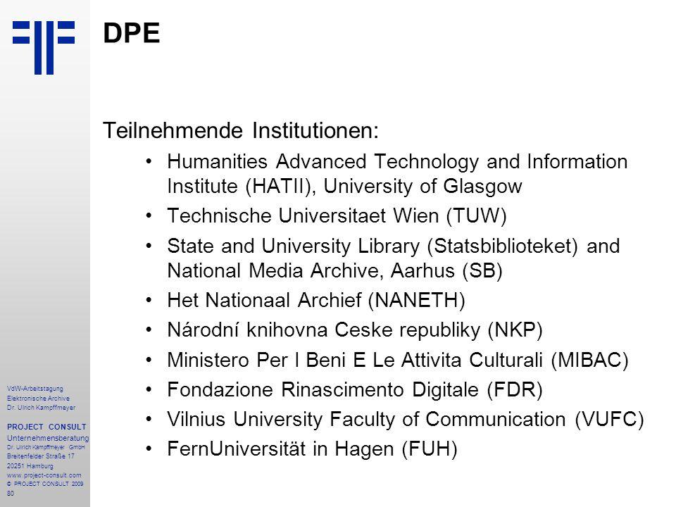 DPE Teilnehmende Institutionen: