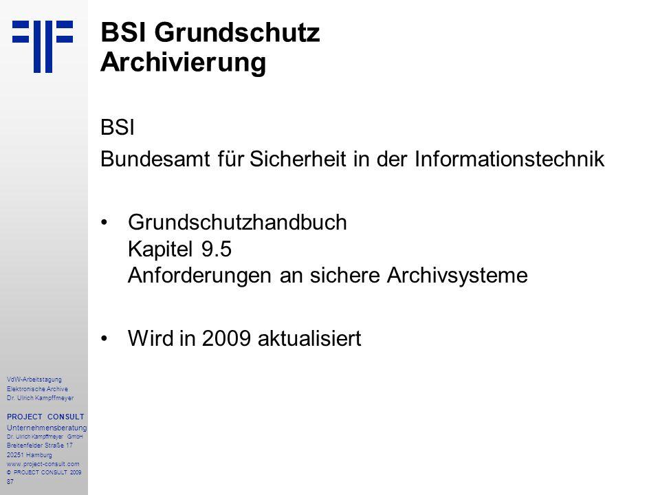 BSI Grundschutz Archivierung