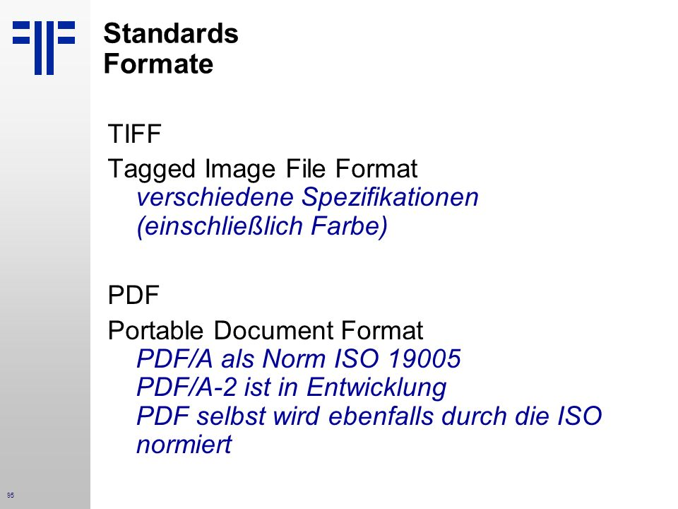 Standards Formate TIFF