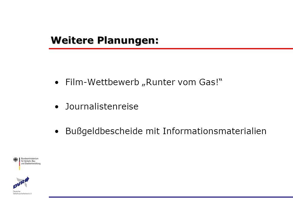 """Weitere Planungen: Film-Wettbewerb """"Runter vom Gas! Journalistenreise"""