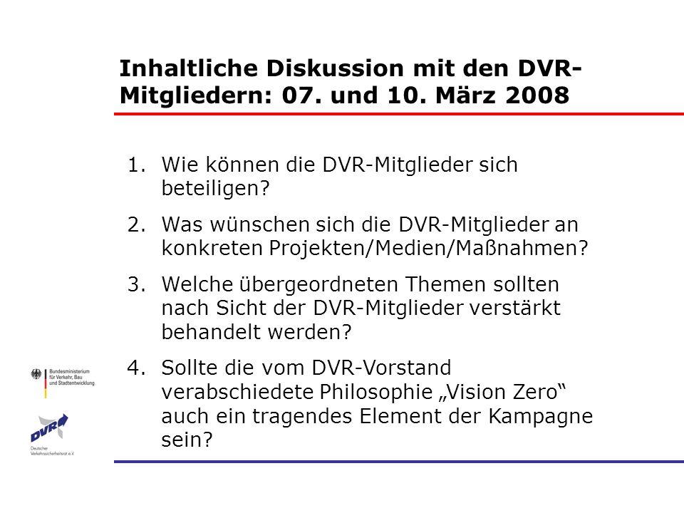 Inhaltliche Diskussion mit den DVR-Mitgliedern: 07. und 10. März 2008