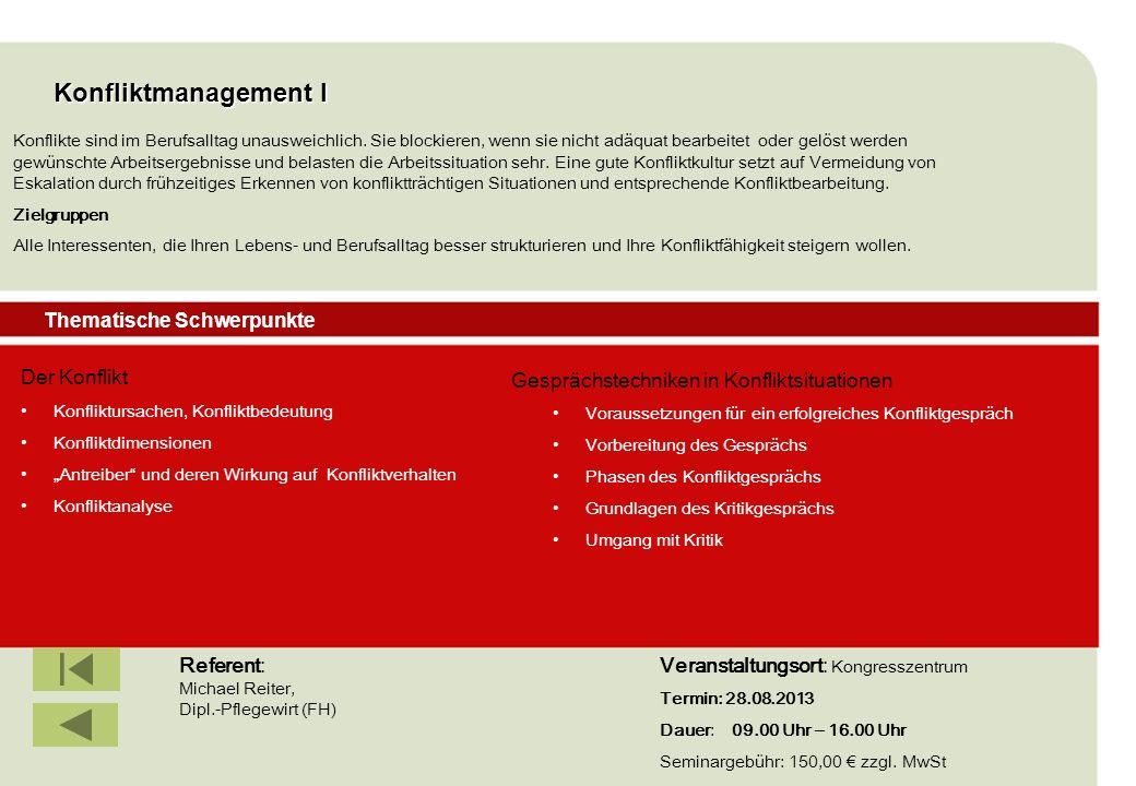 Konfliktmanagement I Thematische Schwerpunkte Der Konflikt