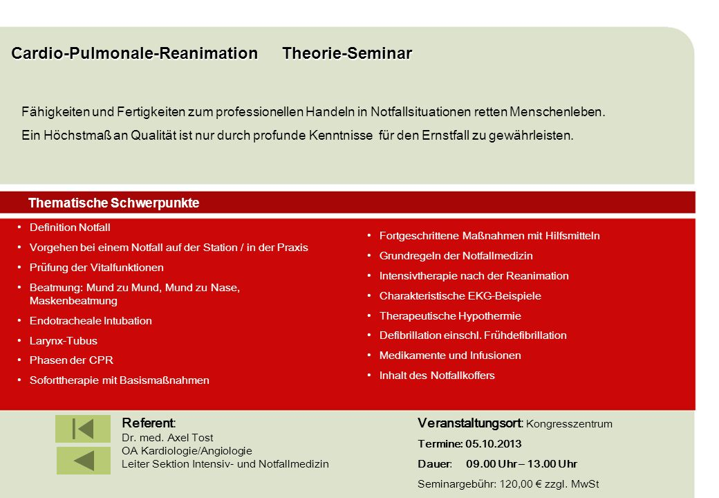 Cardio-Pulmonale-Reanimation Theorie-Seminar