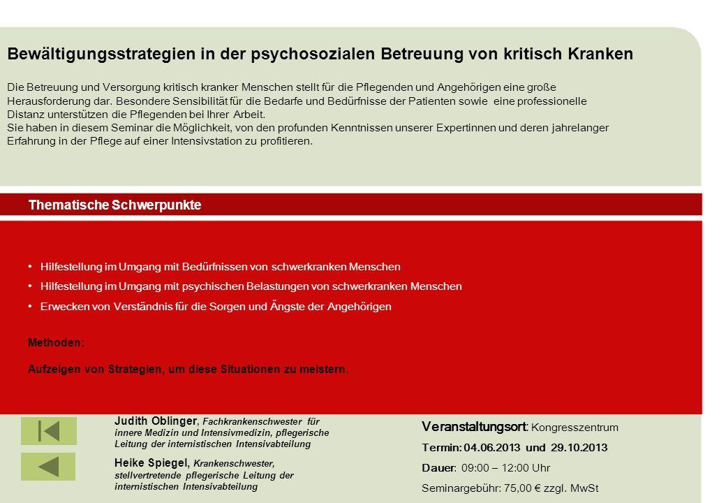 Bewältigungsstrategien in der psychosozialen Betreuung von kritisch Kranken