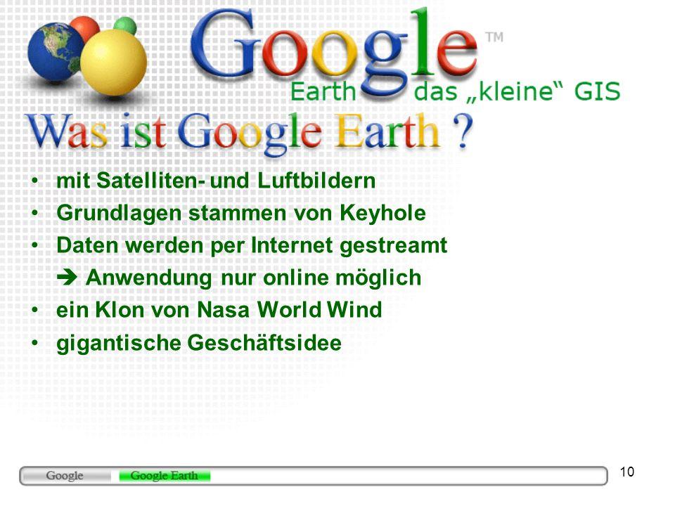 mit Satelliten- und Luftbildern