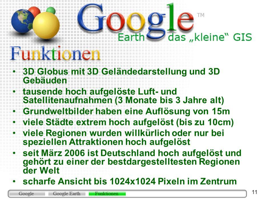 3D Globus mit 3D Geländedarstellung und 3D Gebäuden