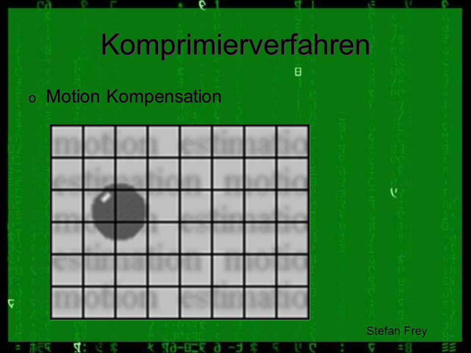 Komprimierverfahren Motion Kompensation SF: Stefan Frey