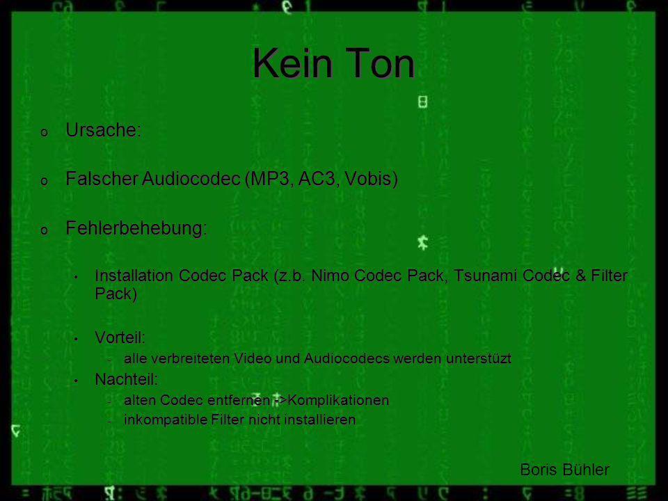 Kein Ton Ursache: Falscher Audiocodec (MP3, AC3, Vobis)