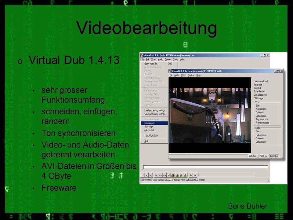 Videobearbeitung Virtual Dub 1.4.13 sehr grosser Funktionsumfang