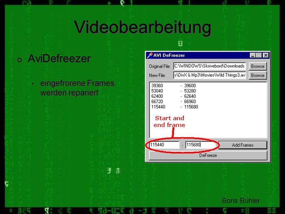 Videobearbeitung AviDefreezer eingefrorene Frames werden repariert