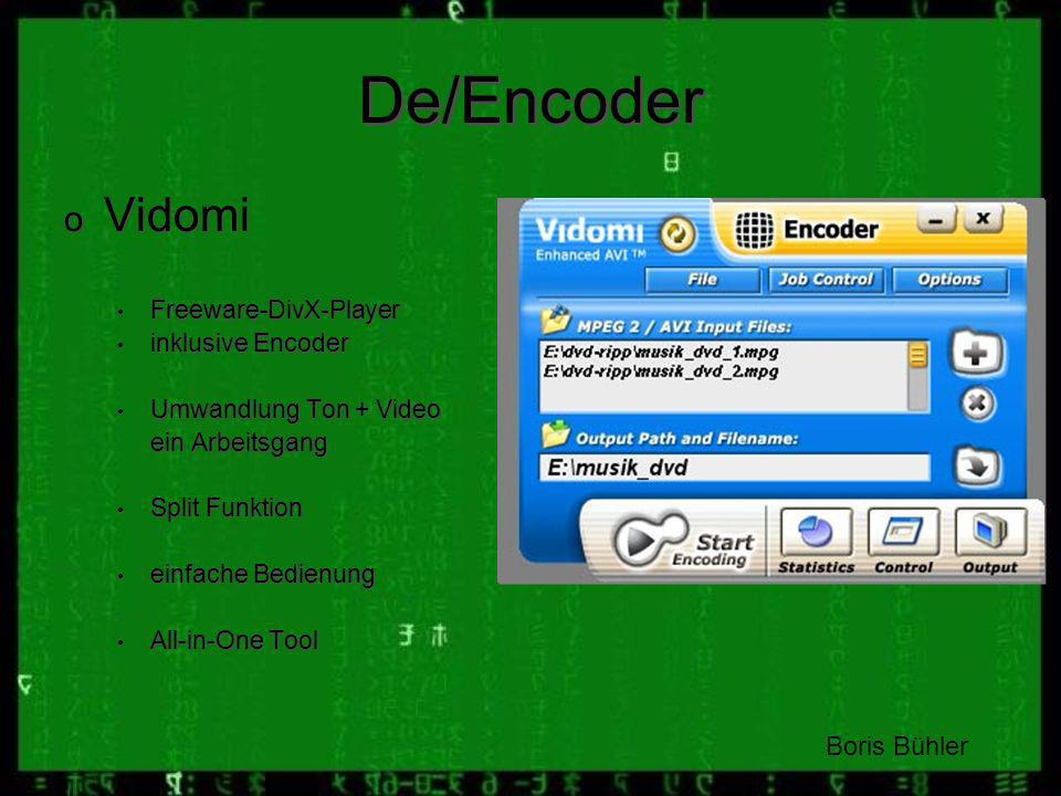 De/Encoder Vidomi Boris Bühler Freeware-DivX-Player inklusive Encoder