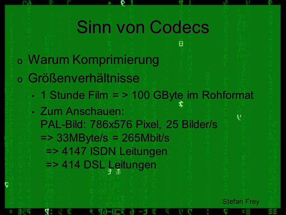 Sinn von Codecs Warum Komprimierung Größenverhältnisse