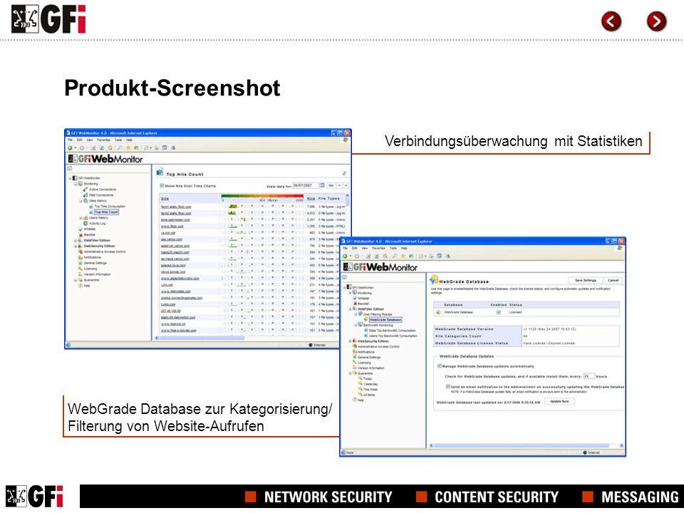 Produkt-Screenshot Verbindungsüberwachung mit Statistiken