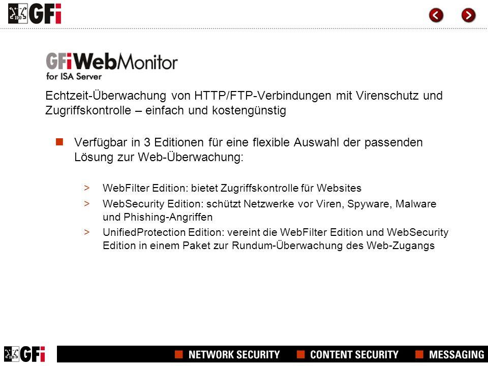 Echtzeit-Überwachung von HTTP/FTP-Verbindungen mit Virenschutz und Zugriffskontrolle – einfach und kostengünstig
