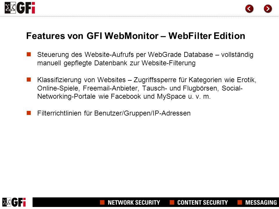 Features von GFI WebMonitor – WebFilter Edition