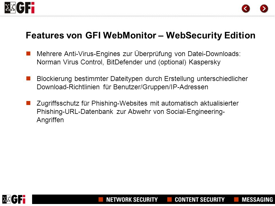 Features von GFI WebMonitor – WebSecurity Edition