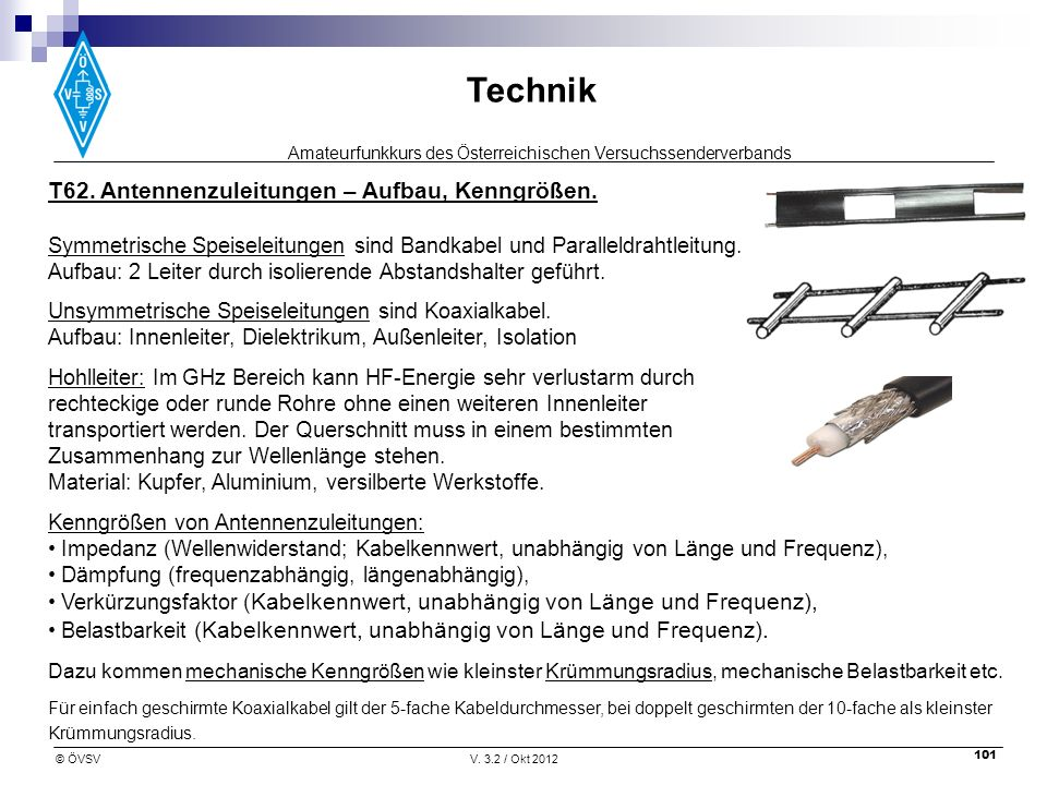 T62. Antennenzuleitungen – Aufbau, Kenngrößen.
