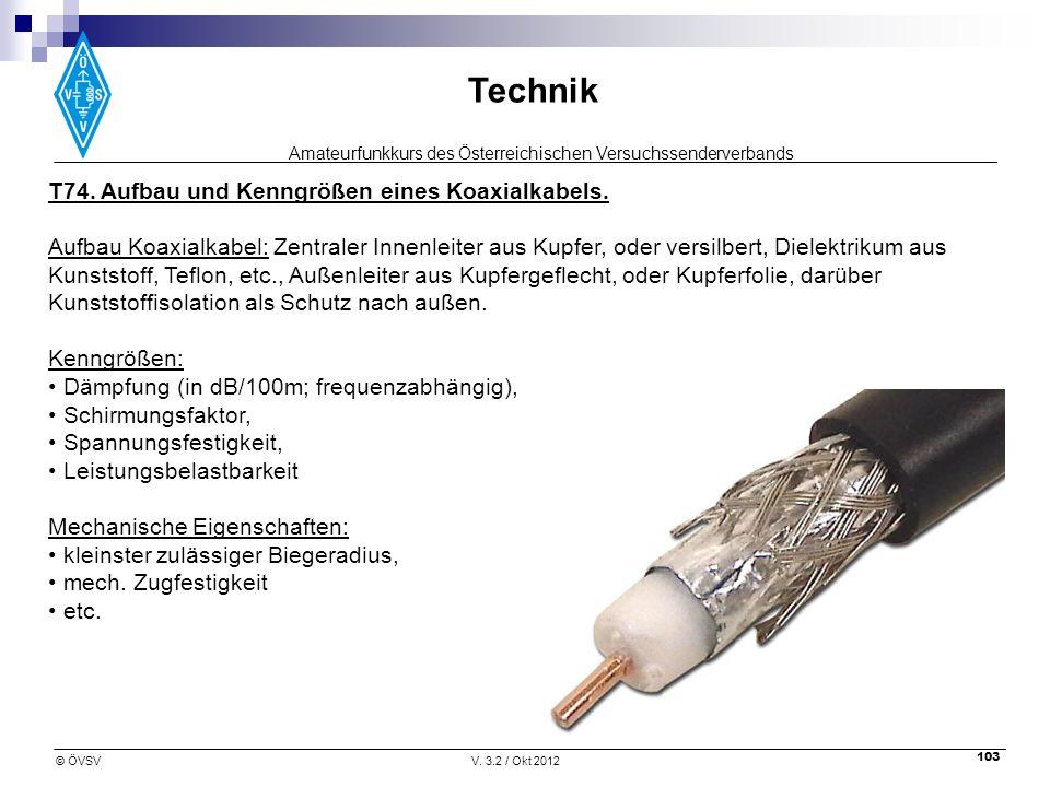 T74. Aufbau und Kenngrößen eines Koaxialkabels.