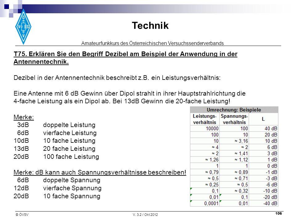 T75. Erklären Sie den Begriff Dezibel am Beispiel der Anwendung in der Antennentechnik.