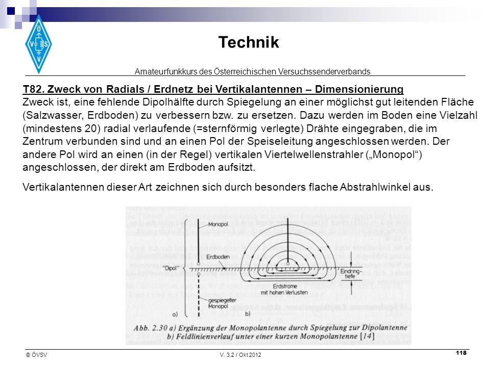 T82. Zweck von Radials / Erdnetz bei Vertikalantennen – Dimensionierung