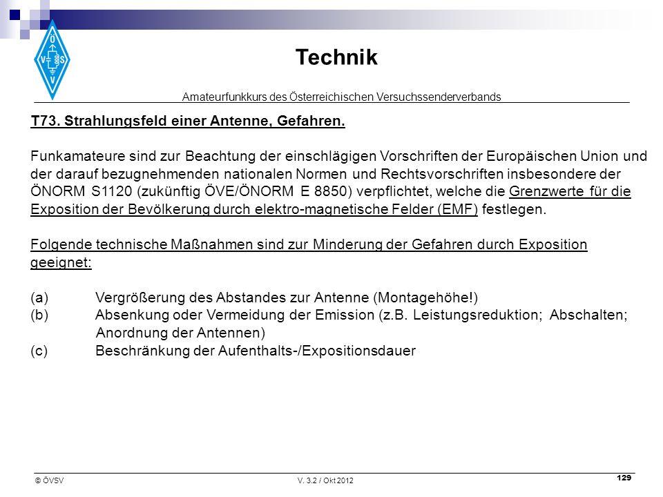 T73. Strahlungsfeld einer Antenne, Gefahren.