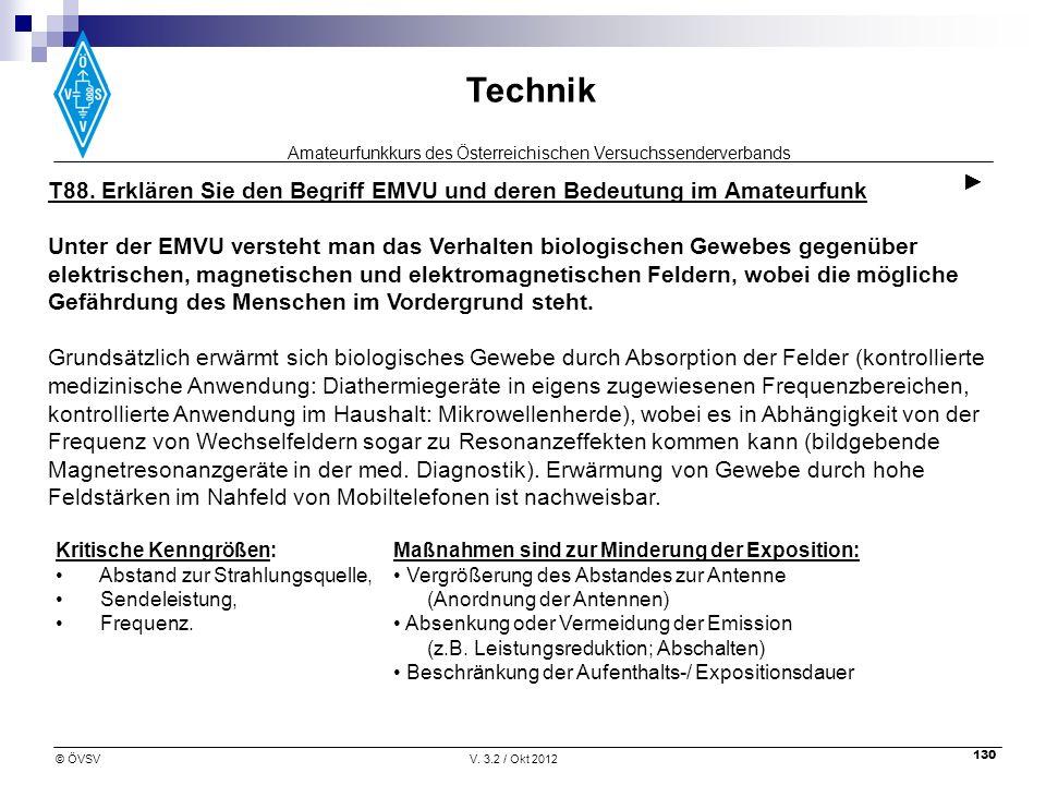 T88. Erklären Sie den Begriff EMVU und deren Bedeutung im Amateurfunk