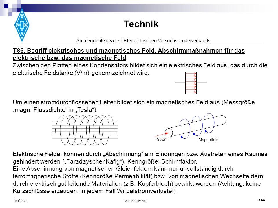 T86. Begriff elektrisches und magnetisches Feld, Abschirmmaßnahmen für das elektrische bzw. das magnetische Feld