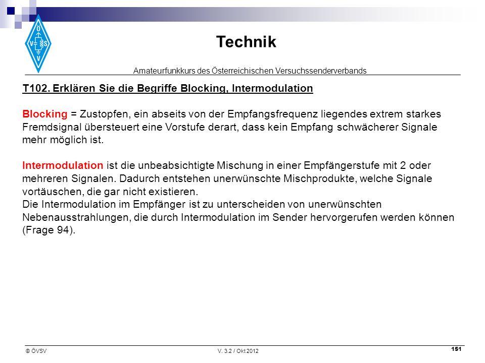 T102. Erklären Sie die Begriffe Blocking, Intermodulation