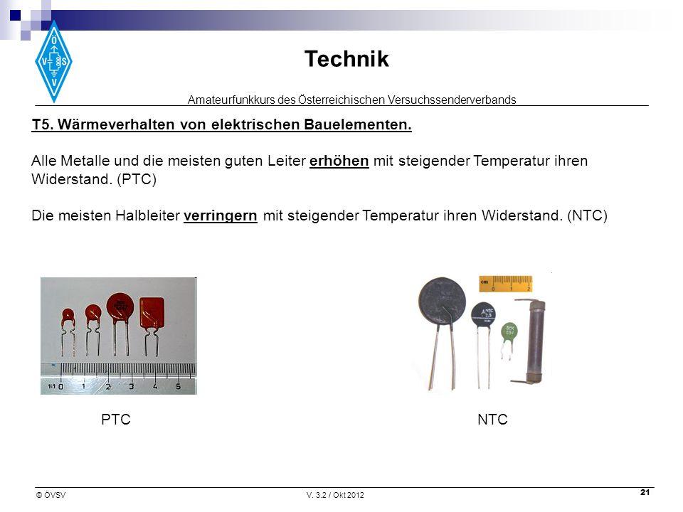 T5. Wärmeverhalten von elektrischen Bauelementen.