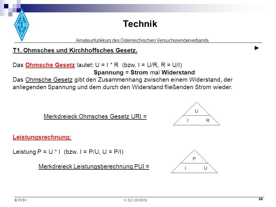 ► T1. Ohmsches und Kirchhoffsches Gesetz.