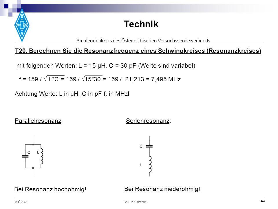 T20. Berechnen Sie die Resonanzfrequenz eines Schwingkreises (Resonanzkreises)