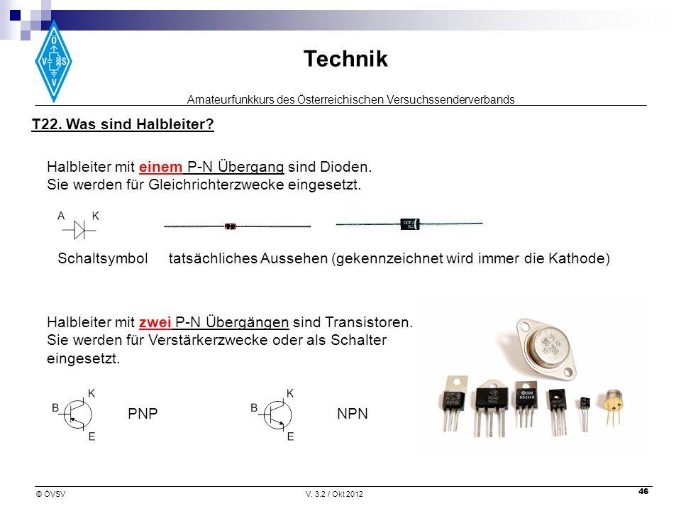 T22. Was sind Halbleiter Halbleiter mit einem P-N Übergang sind Dioden. Sie werden für Gleichrichterzwecke eingesetzt.