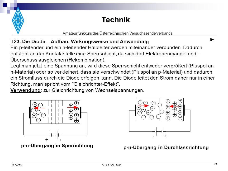 ► T23. Die Diode – Aufbau, Wirkungsweise und Anwendung.