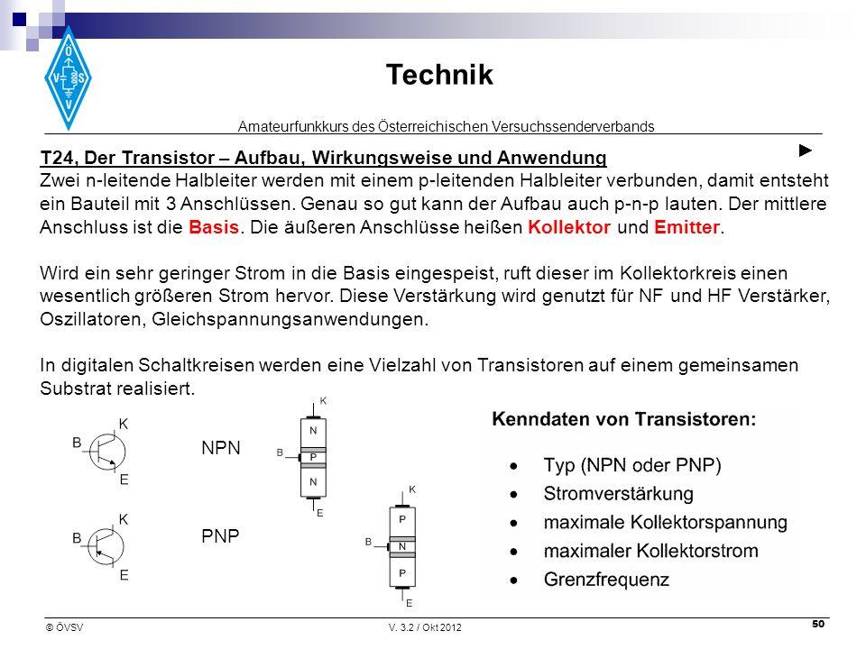 ► T24, Der Transistor – Aufbau, Wirkungsweise und Anwendung.