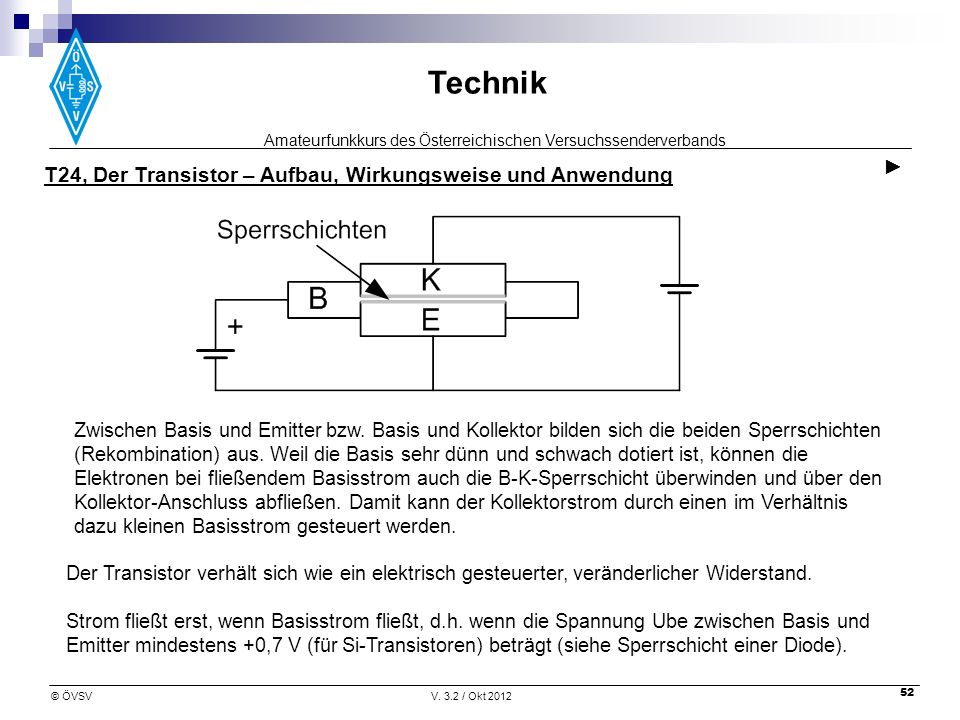 T24, Der Transistor – Aufbau, Wirkungsweise und Anwendung