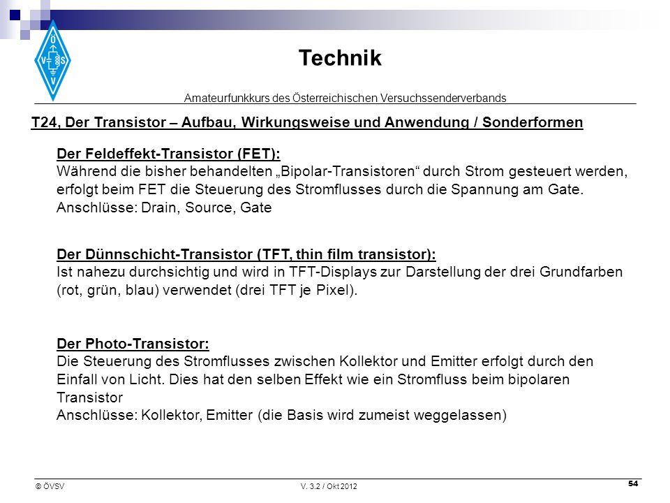 T24, Der Transistor – Aufbau, Wirkungsweise und Anwendung / Sonderformen