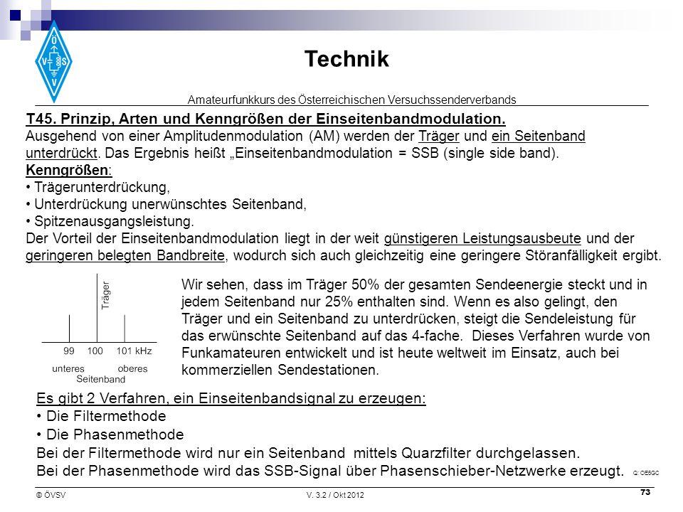T45. Prinzip, Arten und Kenngrößen der Einseitenbandmodulation.