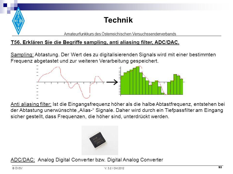 T56. Erklären Sie die Begriffe sampling, anti aliasing filter, ADC/DAC.
