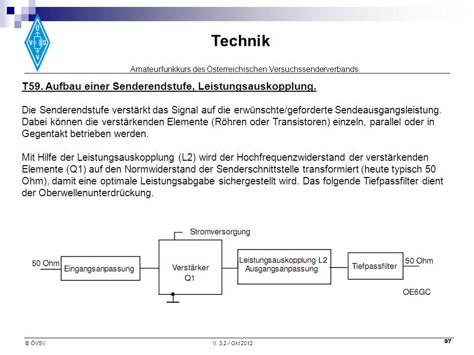 T59. Aufbau einer Senderendstufe, Leistungsauskopplung.