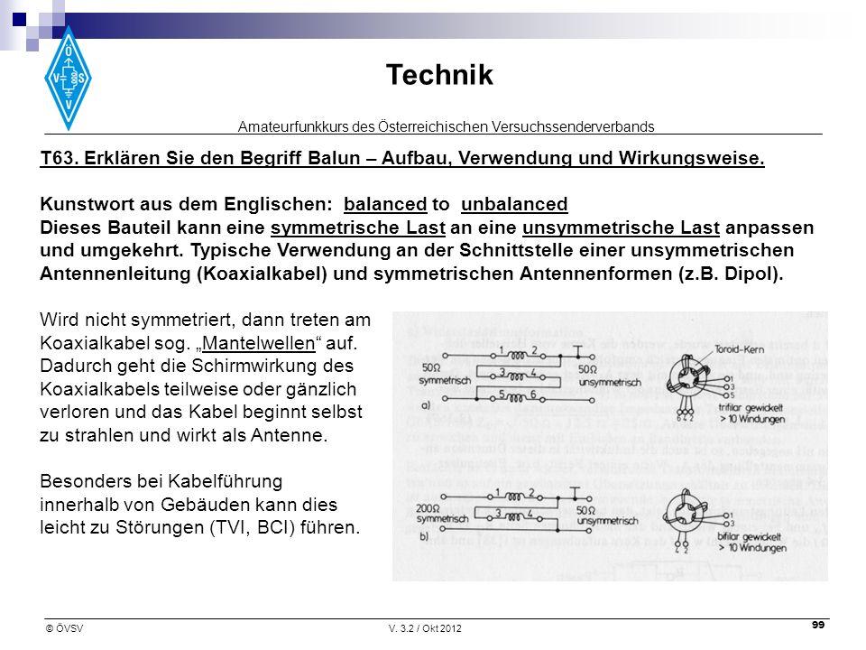 T63. Erklären Sie den Begriff Balun – Aufbau, Verwendung und Wirkungsweise.
