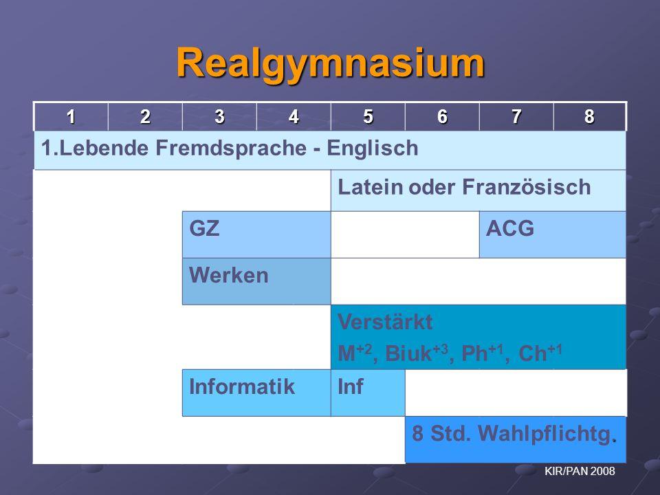 Realgymnasium 1.Lebende Fremdsprache - Englisch