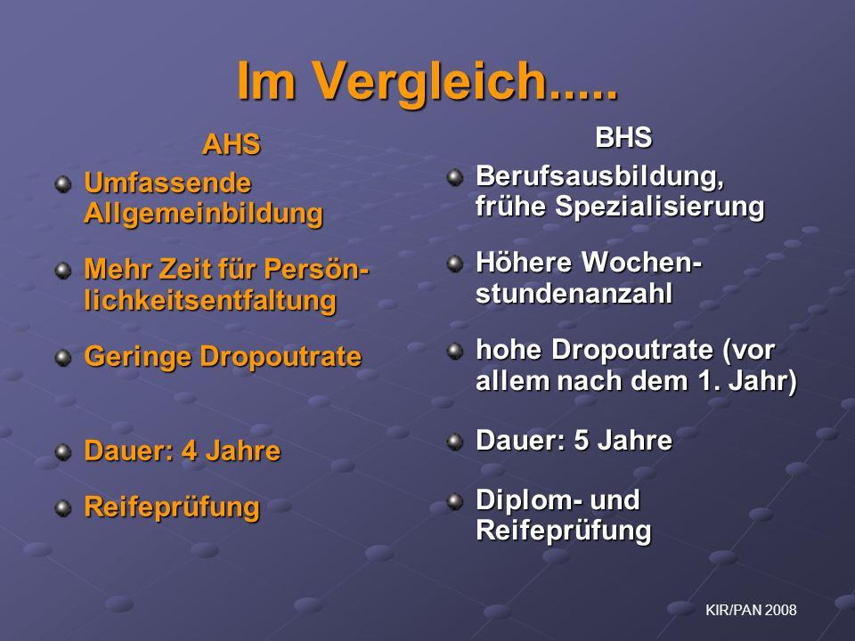 Im Vergleich..... BHS AHS Berufsausbildung, frühe Spezialisierung